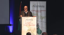 Photo: Rifat Kassis speaks at the opening session of the Kairos Palestine 9th Anniversary Conference in Bethelem.